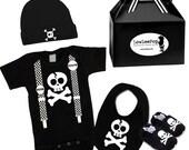 Punk Rock Baby Boy Rockstar Kit Skull & Suspenders black romper booties hat Bib