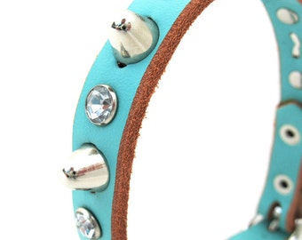 Leather Dog Collar in Aqua Blue with Crystal Rhinestones and Gentle Spikes, Size XS to fit a 7-9 Neck, Tiny Dog Collar