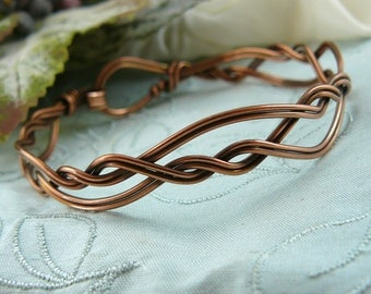 Simple Copper Bracelet ~ Copper Wire Bracelet ~ Wire Wrapped Bangle ~ Wire Wrapped Weave Bangle ~ Copper Bangle Bracelet ~Art Nouveau Bangle