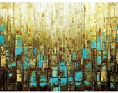 Abstract Art, Giclee PRINT on Canvas Wall Art Home Decor Large Landscape Modern Blue and Brown Art by Susanna
