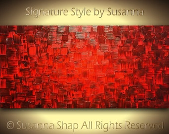 ORIGINAL Red Abstract Painting Art, Large Abstract , Oil Painting, Home Decor Wall Art Palette Knife Texture Modern Art by Susanna