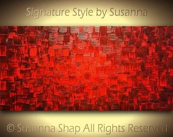 Original Large Red Painting Abstract Art Oil Painting Home Decor Wall Art Modern Palette Knife Texture Art ~Susanna