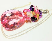 LAST DAY 20% OFF (Code:SALE20) Large Lab pink Quartz faceted pear briolettes (83.36cts) and Sterling Silver Necklace