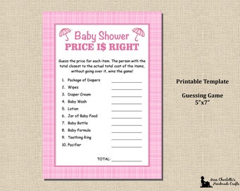 price is right bridal shower game template - items similar to printable boy baby shower price is right