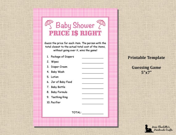 baby girl shower shower price is right game 5x7 plaid pink