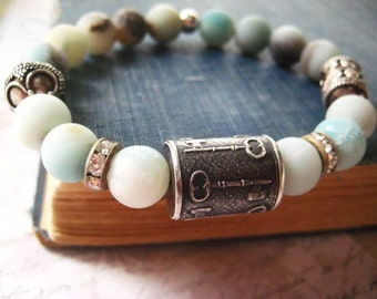 SALE Originally 120.00 Now 99.00 Anne Choi Bracelet, Bohemian Bracelet, Artisan Key Bead, Beach Glass, Flower Amazonite,  Sterlling Silver