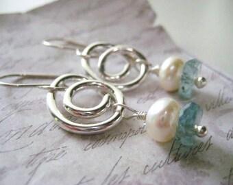 Swirl Earrings, Gemstone Earrings,  Fine Silver, Sterling Silver, Aquamarine Gems, Button Pearl, Hand Formed Swirl, Womens Jewelry