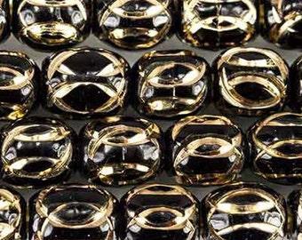 BLACK ENAMEL w/diamond cuts oval metal beads 8MM (14)
