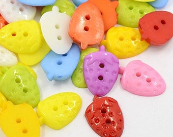 Novelty Buttons SALE (B112) 20 Assorted Colors Strawberry Plastic 21x14mm Buttons for Sewing Crochet Knitting Crafting Scrapbooks