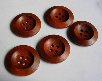 """Buttons (B114) Five 1.25"""" Diameter Round 4 Hole Wooden Buttons Brown Wood for Sewing Crafts Knitting and Crochet"""