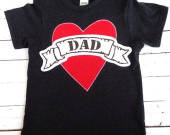 Valentine's Black tshirt kids hip punk Father's Day Mom or Dad Tattoo- Short Sleeve Shirt Applique valentines day shirt card gift idea kids