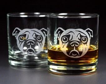 2 Sad Pug Dog Lowball Glasses - Set of 2