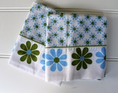 Mod Vintage Pillowcases - 1970s Daisy Cases - Bright Green and Blue Flowers on White - Standard Size- Unused - New Old Stock