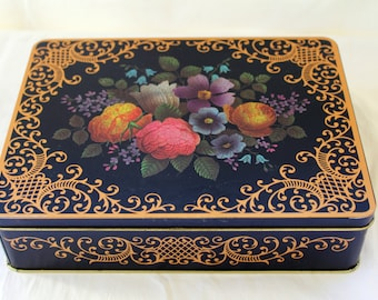 English Garden Tin w/Hinged Lid - Flower Gold Scrolling Metal Box