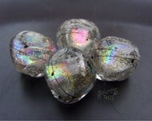 Lampwork Beads Silver Ice Rainbow Nuggets