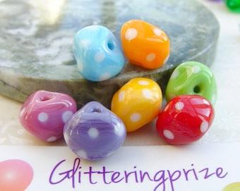 Lampwork Glass Beads Rainbow Sherbet Polka Nuggets Delux
