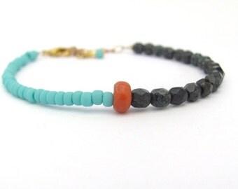 Coral Bracelet, Beaded Bracelet, Turquoise Friendship Bracelet, Hawaii Jewelry, Hawaiian Bracelet, Color Block Bracelet, Rustic Bohemian