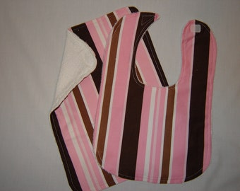 Pink and Brown Stripe Bib and Burp