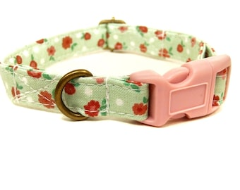 Chelsea Garden - Organic Cotton CAT Collar Mint Rose Shabby Chic Breakaway Safety - All Antique Brass Hardware