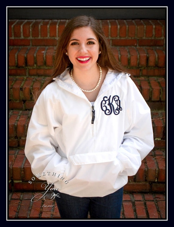 White Fleece Lined Monogrammed Windbreaker Jacket