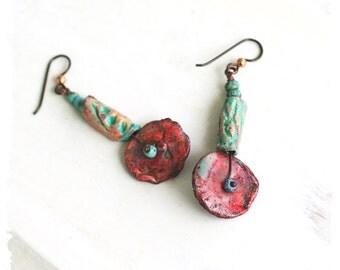Colorful artisan dangle earrings, Polymer clay earrings for women, Art jewelry, Urban tribal earrings, Ethnic earrings for her,