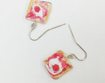Waffle dangle earrings with strawberries and whipped cream