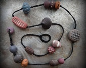 Bohemian Necklace, Handmade Clay Beads, Hand Painted, Earthy Colors, Dots