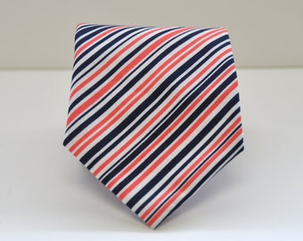 Coral and Navy Striped Men's Necktie, Skinny Necktie, Coral Necktie, Baby, Toddler, Boy, Teen Tie, Wedding Ties