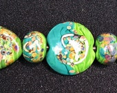 Reserved for Molly A....Handmade Lampwork Lentil Glass Bead Set Contemporary Zen Style Green and Green Sra