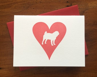 Heart: Pug, single letterpress card