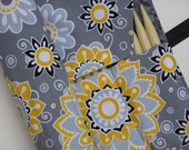 double pointed knitting needle case - knitting needle organizer - floral in grays, yellow and black -holds 14 sizes - sizes 1-15