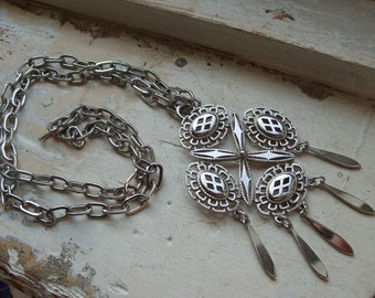 FREE SHIPPING Vintage Silver Mid Century Modern Design Necklace