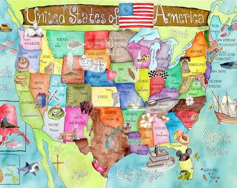 USA Map for kids 40 x 55 inch extra HUGE watercolor art nursery poster by Marley Ungaro
