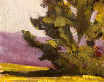 Original Tree Oil Painting, Small 6x6 Canvas, Evergreen, Green, Purple, Gold, Textured, Square Format, Sunny, Summer Scene, Wall Decor