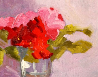 Original Still Life Oil Painting, Red, Pink Roses, Floral Arrangement, Small Romantic 6x8 Bedroom Flower Design, Lavender, Wall Decor, Home