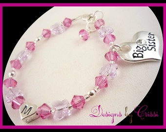 Swarovksi butterfly crystal Big Sister bracelet with Personalized Initial