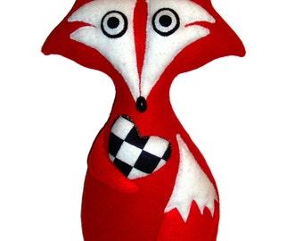 Primitive Gothic Red Felt Plush Crazy Fox