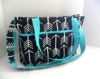 Large Diaper Bag - Black Arrow - Zipper Closure - Arrow Diaper Bag