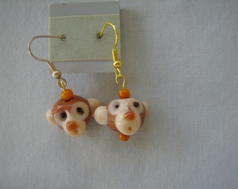 Handmade Lampwork Glass MONKEY HEAD Earringss