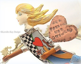 She Followed Her Heart Mixed Media Art Doll Wall Hanging Broken China Pop Art  One-of-a-Kind Original Ornament