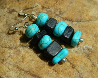 Turquoise Howlite and Buffalo Horn Earrings