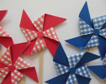 Pinwheel Cupcake Toppers - Red, White and Blue Gingham - Birthday Party Decorations - Set of 6