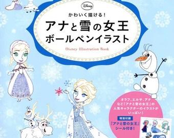 DISNEY Frozen Ballpoint Pens Illustration Book - Japanese Craft Book