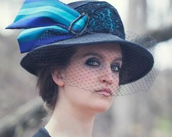 Black Silk Downton Abbey Edwardian hat
