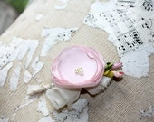 Mens boutonniere, blush wedding boutonniere, fabric flower boutineer, buttonhole, blush pink grooms flower