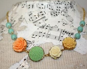 Flower necklace, bright summer necklace, summer wedding aqua, mint, sherbert necklace