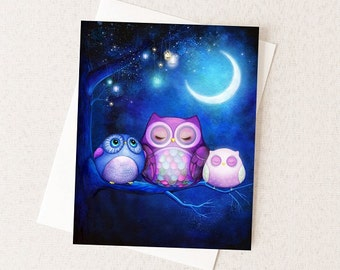 Night Owls - Whimsical Watercolor Painting Card - Night Forest and Lanterns - Whimsical Nursery Art - Owl Gift Card