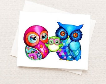 Baby and Parents - Happy Owl Family - Blank Card - Colorful Greeting Card