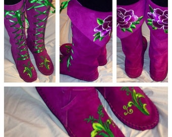 Earthgarden Enchanted ElfBoots Handmade Fushia Flower Moccasins Knee high suede w/rubber soles festival, circus, renfaire, forest fantasy