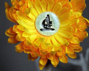 Microscope Flower Hair Clip in Yellow